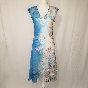 KOMAROV Blue Ombre shading Floral Sleeveless dress